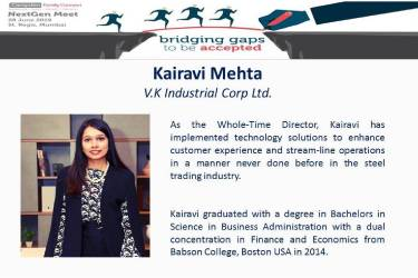 Campden Family Connect NextGen Meet June 2019 –  Kairavi Mehta, Director represented VKICL as one of the panellists.